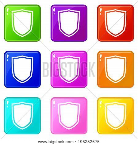 Military shield icons of 9 color set isolated vector illustration