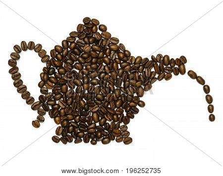 Photo of roasted coffee beans in the shape of a coffee pot.