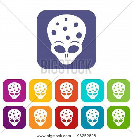 Extraterrestrial alien head icons set vector illustration in flat style in colors red, blue, green, and other