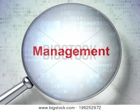Finance concept: magnifying optical glass with words Management on digital background, 3D rendering