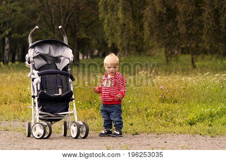 Cute toddler on the walk. Funny baby boy standing near the stroller in the park. Copy space.