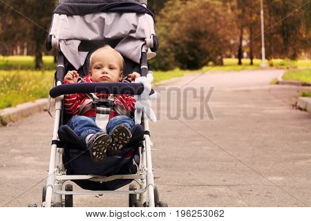 Autumn walk in the stroller. Cute toddler in his stroller in the park.