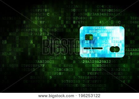 Finance concept: pixelated Credit Card icon on digital background, empty copyspace for card, text, advertising