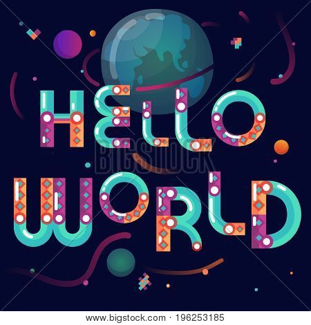 Latin alphabet cartoon constructor astronomical world poster with earth globe planets on black background abstract vector illustration