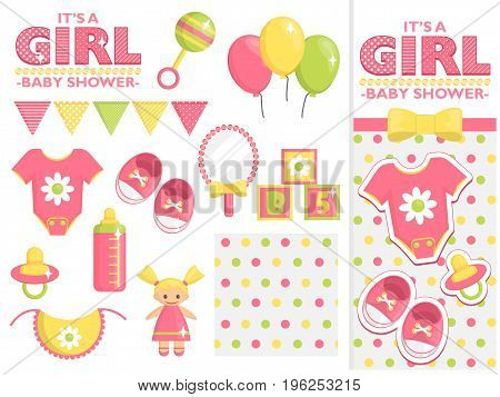 It is a girl baby shower items collection for party, event decoration. Design elements for cards and invitations and template. Pink colored baby clothes, toys for girls and other baby goods.