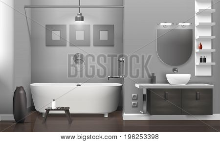 Realistic bathroom interior with white tub and sink, decor on grey wall, vase on floor vector illustration