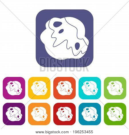 Moon stone icons set vector illustration in flat style in colors red, blue, green, and other
