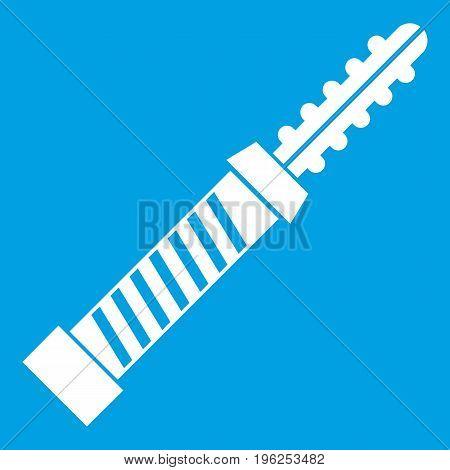 Mini electronic hookah icon white isolated on blue background vector illustration
