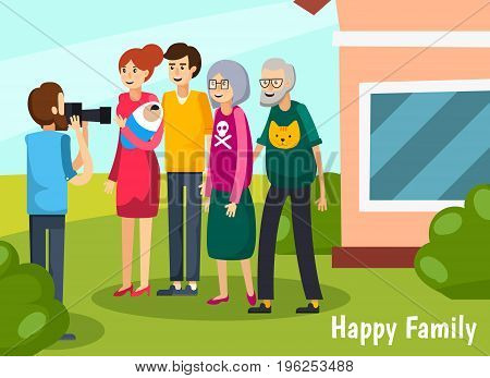 Colored aged elderly people flat composition with happy family headline and full big family come together vector illustration