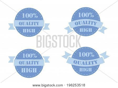Set of blue labels high quality isolated on white background. Vector illustration