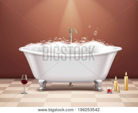Realistic white bathtub with foam composition romantic atmosphere with a glass of wine and candles vector illustration