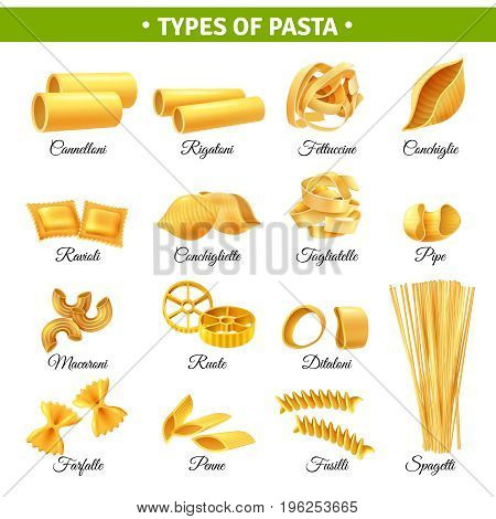 Realistic infographics with types of italian pasta and their names isolated on white background vector illustration