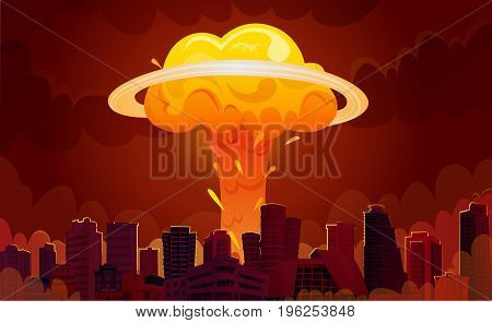 Downtown city center skyscrapers with bright orange fiery nuclear explosion mushroom clouds retro cartoon poster vector illustration