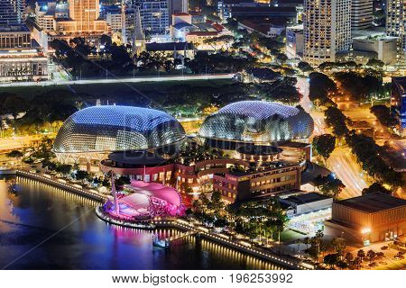 Amazing Night View Of Downtown In Singapore