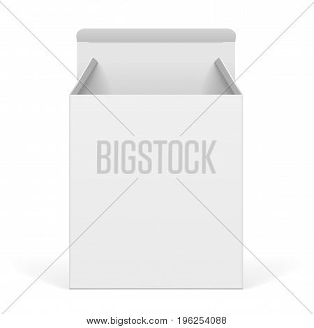 White Package Box Opened. For Software electronic device and other products. Vector illustration