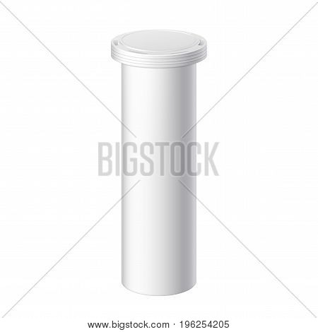 White Realistic round bottle with lid. Packing for effervescent or carbon tablets pills vitamins. Mock up for brand template. vector illustration.