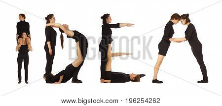 Black dressed people forming IDEA word over white background