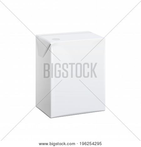 Realistic White carton pack For juice milk and other drinks. Vector illustration. Template For Mockup Your Design.