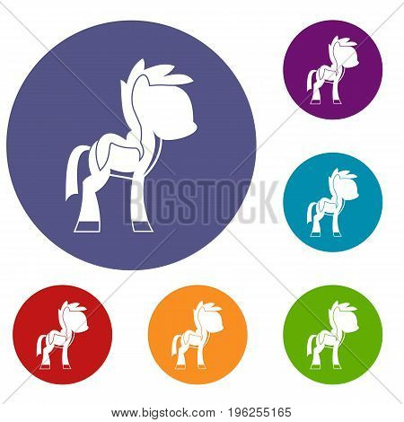 Little pony icons set in flat circle red, blue and green color for web
