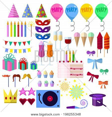 Celebration party elements collection, Carnival festive flat icons set, Colorful symbols pack contains - hat, mask, balloon, fireworks, gift, birthday cake. Vector illustration. Flat style design