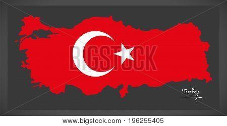 Turkey Map With Turkish National Flag Illustration