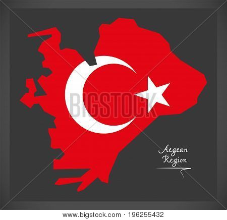 Aegean Region Turkey Map With Turkish National Flag Illustration