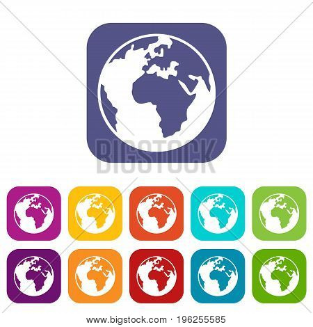 Earth globe icons set vector illustration in flat style in colors red, blue, green, and other