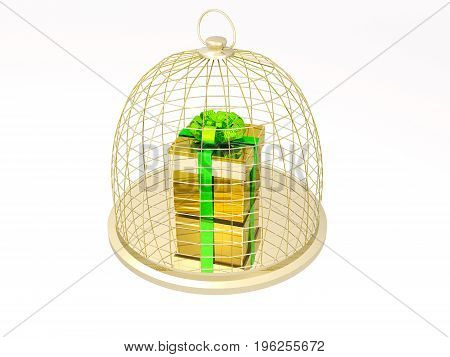 Gift box in cage on the white background 3D illustration.