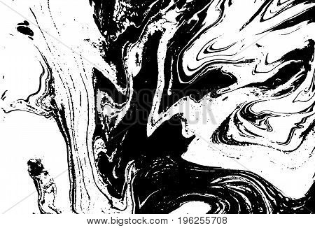 Black And White Liquid Texture. Watercolor Hand Drawn Marbling Illustration. Abstract Vector Backgro