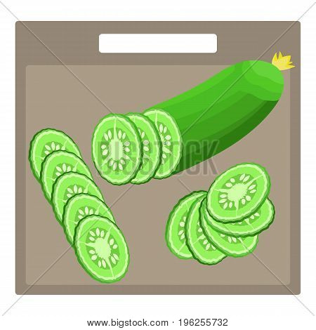 Sliced isometric fresh green cucumber split in a half and cucumber circle slices with different cutting styles. Nice cooking vegetable symbol for recipe menu shop and market design emblem banner