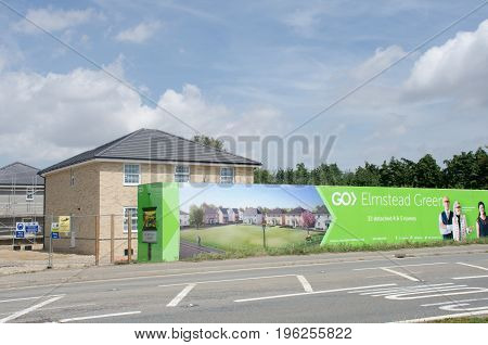 Elmstead Essex United Kingdom -17 July 2017: Large advertising hoarding for rural residential development by road