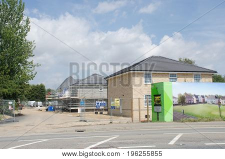 Elmstead Essex United Kingdom -17 July 2017: Large advertising hoarding for rural residential development being built