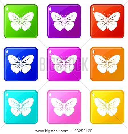 Black butterfly icons of 9 color set isolated vector illustration