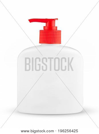 White bottle of liquid soap in white background. Cosmetic bottle for a cream, shampoo, oil, gel. Mock up. Design white label for container. Mockup. Cosmetic products.