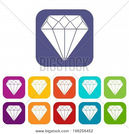 Diamond icons set vector illustration in flat style in colors red, blue, green, and other