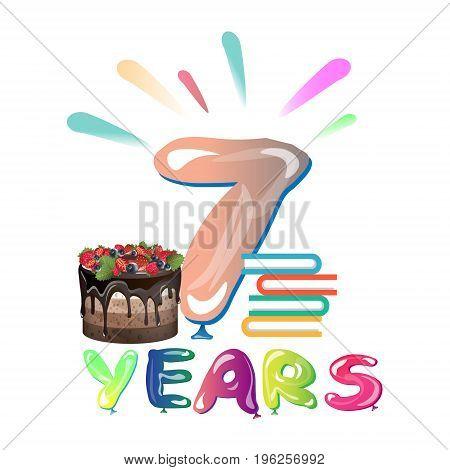 Happy seventh birthday anniversary. Vector illustration card
