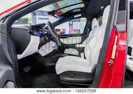 PRAGUECZECH REPUBLIC - 17 July 2017. TESLA car Model X - detail on the dashboard of a modern electric car located in the ALZA shop in Prague.