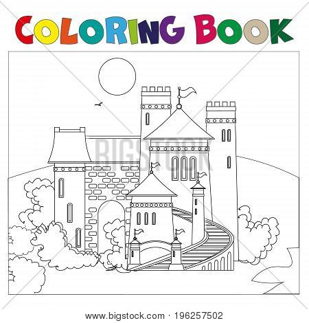 Coloring book with castle. Vector illustration on white background