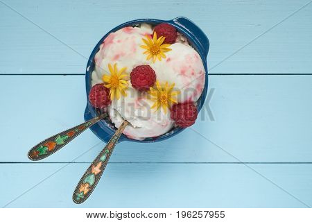Top View On Ice Cream In A Bowl