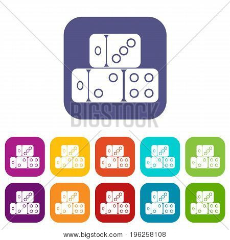 Three dice cubes icons set vector illustration in flat style in colors red, blue, green, and other