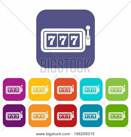 Lucky seven on slot machine icons set vector illustration in flat style in colors red, blue, green, and other