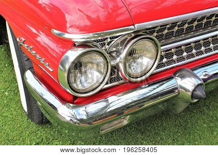 Classic us car, vintage, headlight - Bad Pyrmont/Germany - 07/08/2017