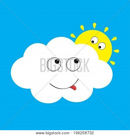 White cloud and yellow sun set looking to each other. Smiling face tongue. Fluffy clouds. Cute cartoon cloudscape. Cloudy weather sign symbols. Flat design Blues sky background. Isolated. Vector