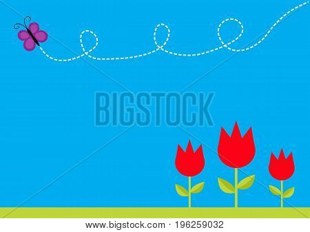 Three red tulip flower set with leaf and flying butterfly insect. Dash line loop. Floral plant decoration element. Flat design. Blue sky background. Isolated. Vector