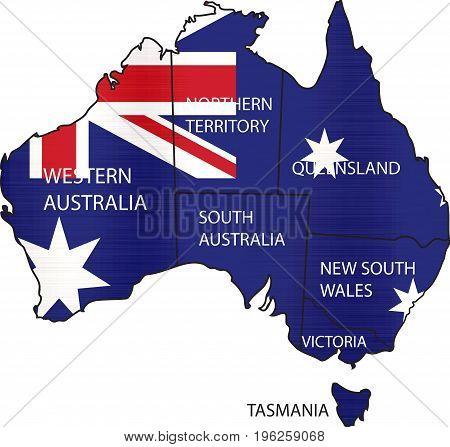 flag map of australian territories illustration country  nation  design