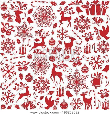 Christmas seamless pattern from holiday elements icons symbols and ornaments. Red background