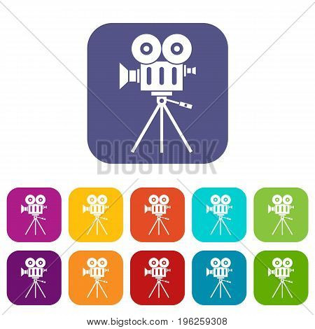 Camcorder icons set vector illustration in flat style in colors red, blue, green, and other