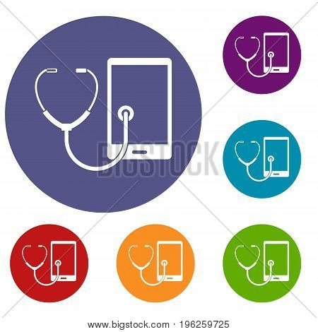 Phone diagnosis icons set in flat circle red, blue and green color for web