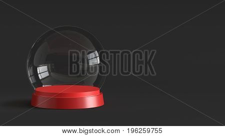 Empty snow glass ball with red tray on dark background. 3D rendering.