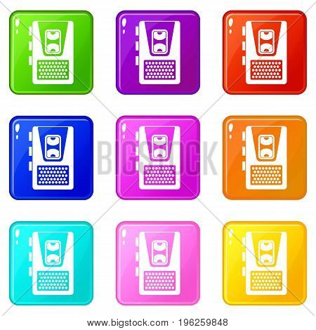 Dictaphone icons of 9 color set isolated vector illustration